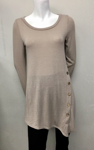 3803 Taupe Side Button Top