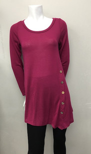 3803 Burgundy Side Button Top