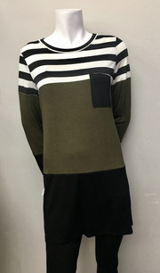 3214 Dark Olive/Blk Pocket Top