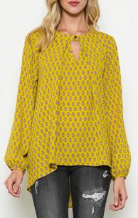 1578 Mustard Criss Cross Slit Sleeved Top