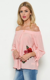 1598 Embroidered Coral Patched Top