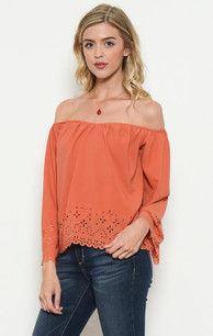 1673 Salmon Lined Laser Cut Top