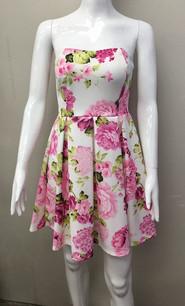 23660 White/Pink Floral Print Dress