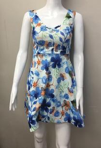 23456 Blue Floral Print Dress