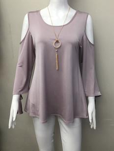 15735A Mauve Necklace Cold Shoulder Top