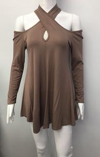 3366 Brown Cross Neck Cold Shoulder Dress
