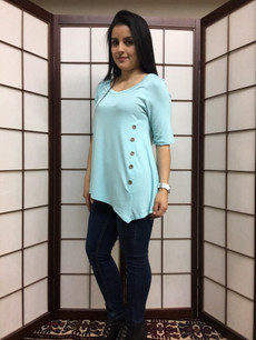 3512 Baby Blue Side Button Sleeved Top
