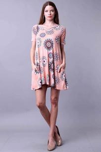 34744 Peach/Circles Dress
