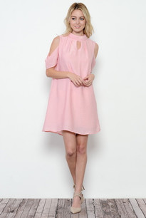 3684 Pink Cold Shoulder Dress