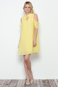 3684 Yellow Cold Shoulder Dress