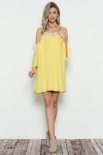 3697 Yellow Cold Shoulder Dress