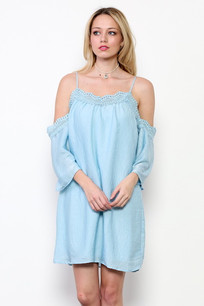 3697 Blue Cold Shoulder Dress