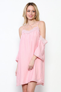 3697 Pink Cold Shoulder Dress