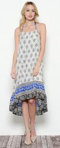3681 Blue Trimmed Maxi Dress