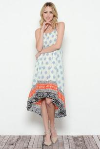 3681 Orange Trimmed Maxi Dress