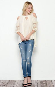 1729 Creme Lace Insert-Sleeve One Buttoned Top