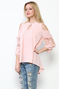 1729 Peach Lace Insert-Sleeve One Buttoned Top