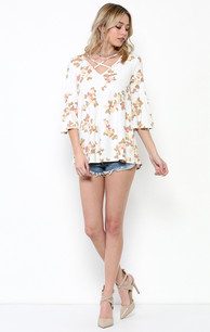 1786 Creme Criss Crossed Neck Top