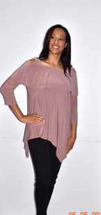 1292 Mauve Cold Shoulder Top