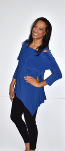 1292 Royal Blue Cold Shoulder Top
