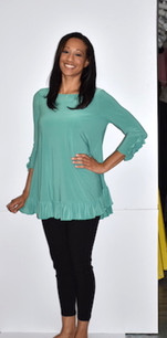 1159 Seafoam Green Ruffle Cuffed Tunic with Ruffle Bottom