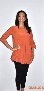1159 Orange Ruffle Cuffed Tunic with Ruffle Bottom
