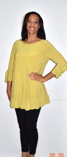 1159 Yellow Ruffle Cuffed Tunic with Ruffle Bottom
