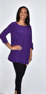 1159 Purple Ruffle Cuffed Tunic with Ruffle Bottom
