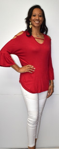 3369 Red Cold Shoulder Ruffle Sleeved Top