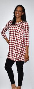 3060 Red Houndstooth Tunic
