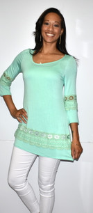 4025 Mint Lace Trimmed Tunic