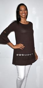 4025 Chocolate Brown Lace Trimmed Tunic