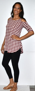 3569 Red/White Houndstooth Cold Shoulder Top
