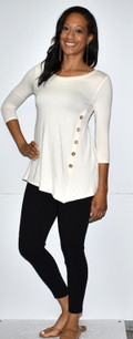 4053 Creme Side Button Top