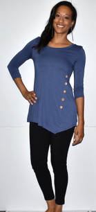 4053 Denim Blue Side Button Top