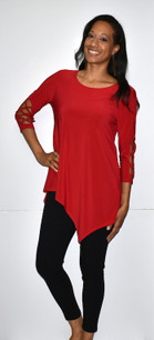 1217 Red Criss Crossed Sleeve w/ Stud Top