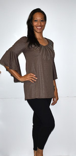 3510 Brown Ruffle Top w/ Sparkle Beads
