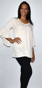 3510 White Ruffle Top w/ Sparkle Beads