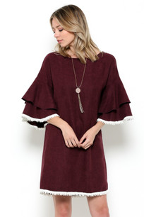 3949 Burgundy Suede Like Ruffle Sleeved Top