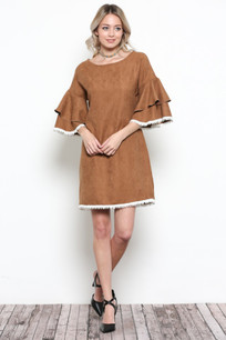 3949 Tan Suede Like Ruffle Sleeved Top