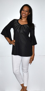 3510 Black Ruffle Top w/ Sparkle Beads