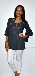 3510 Charcoal Ruffle Top w/ Sparkle Beads