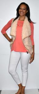 2069 Beige Fur Vest