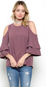 1837 Orchid Cold Shoulder Ruffle Sleeved Tank