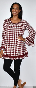 3199 Red Houndstooth Tunic