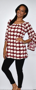 1238 Red Elephant Tunic w/ Ruffled Sleeves