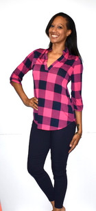 3288 Fuchsia/Blk Plaid Top