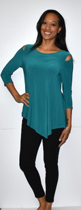 1009 Turquoise Cold Shoulder Top