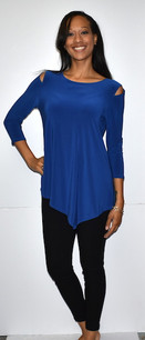 1009 Blue Cold Shoulder Top