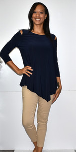 1009 Navy Cold Shoulder Top